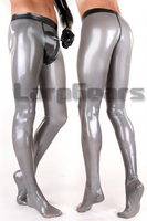 Man silver with black latex rubber leggings with socks and crotch cover front zip jeans latex trousers