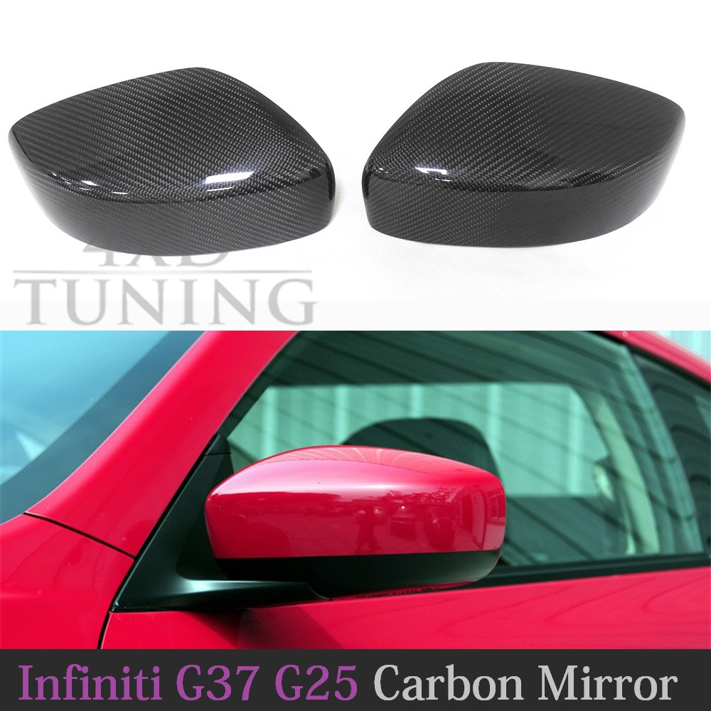 For Infiniti G Series G37 G25 Carbon Fiber Mirror Cover Side View Mirror Caps Add on Style Coupe 2009 2010 2011 2013 2014 for cadillac ats full add on style carbon fiber mirror covers 2014 2015