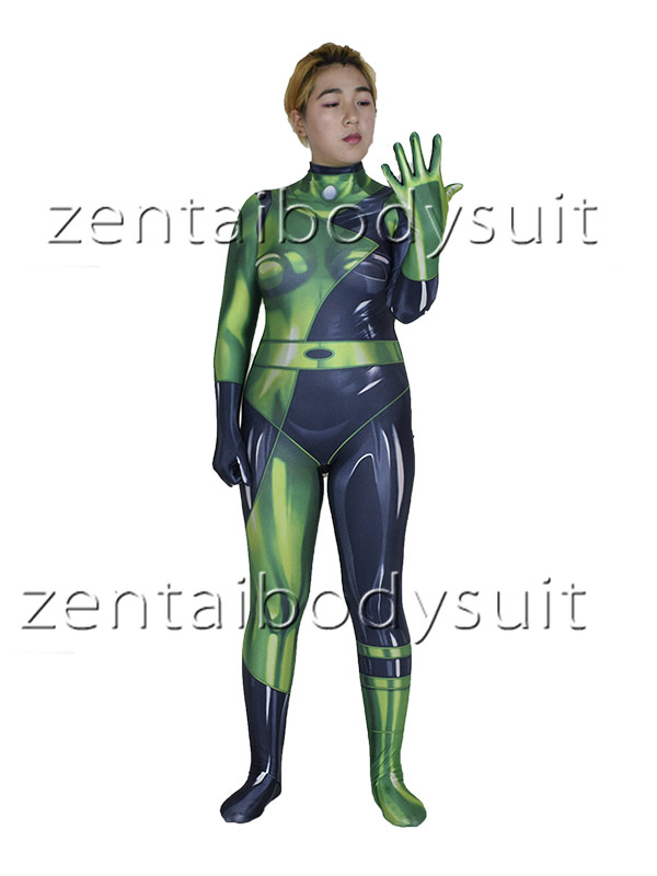 3D Print Shego Cosplay Bodysuit Superhero Spandex Lycra Zentai costume Halloween Cosplay Party suit free delivery