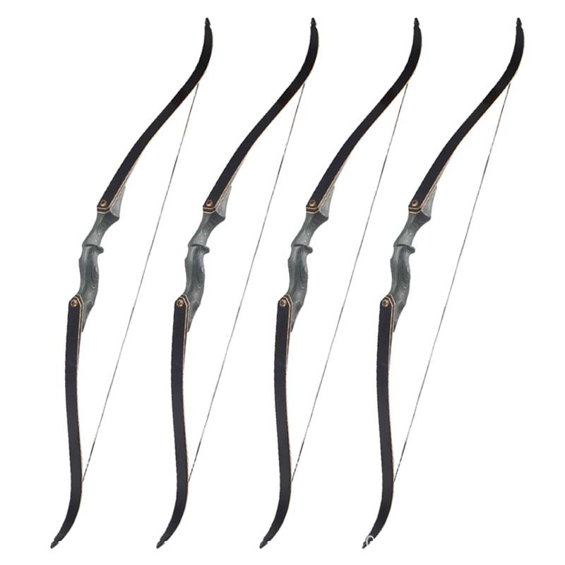 Black 60'' 30-60 lbs Archery Bow Take Down Professional Recurve Bow American Hunting Long Bow Traditional Shooting Arrows 30 40 lbs american hunting bow powerful recurve bow black archery bow for outdoor hunting shooting