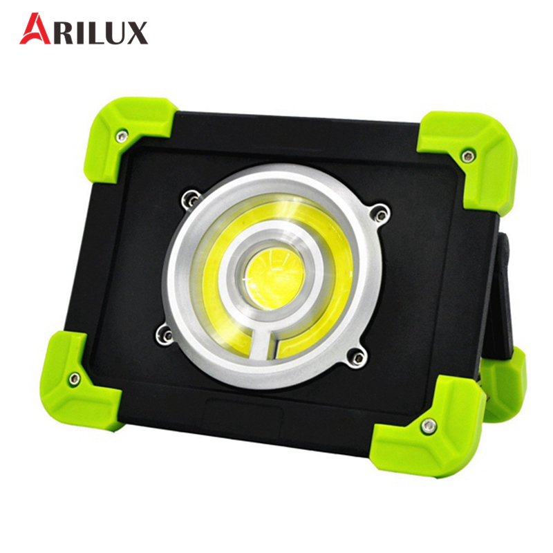 ARILUX Portable Camping Lights 20W 1500LM LED COB Work Lamp USB Rechargeable 6000Mah Waterproof IP44 Floodlight For Outdoor zpaa 2017 portable 3w cob led camping work inspection light lamp usb rechargeable pen light hand torch with usb cable