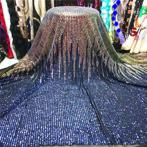 Image 2 - 2019 Wholesale luxury quality African lace fabric with sequins 5 yards green France sequins lace fabric for party dress material