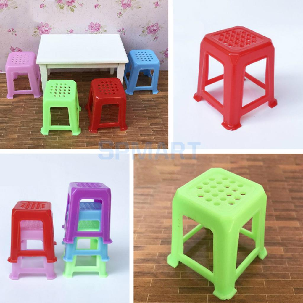 Us 2 98 29 Off 2 Pieces 1 12 Scale Dollhouse Miniature Stools Chairs Plastic Stackable Stool Model Toy For 12th Dolls House Accessories In Dolls