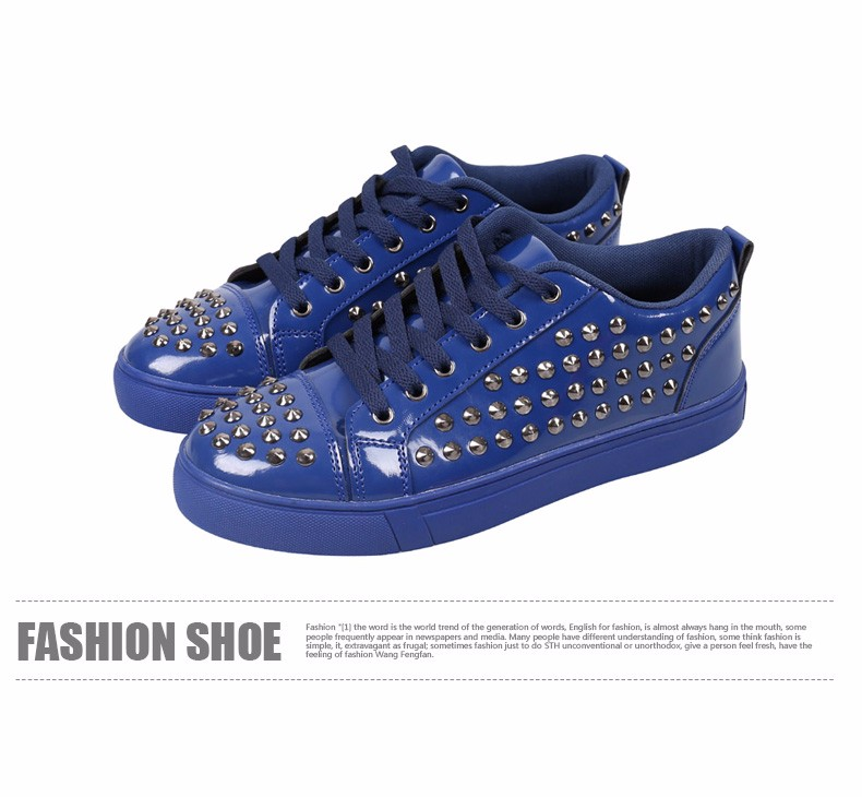Fashion Patent Leather Men\'s Loubuten Shoes Zapatillas Superstar Casual Low Top Rivets Men Shoes Size 39-44 Round Toe Flats F13 (11)