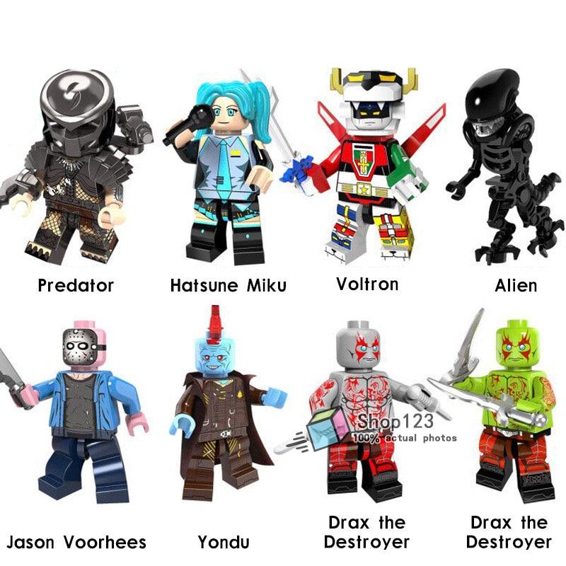 Well-Educated Super Heroes Legoings Predator Skull Hatsune Miku Skeleton Alien Yondu King Kong The Walking Dead Building Blocks Children Toys Up-To-Date Styling Toys & Hobbies