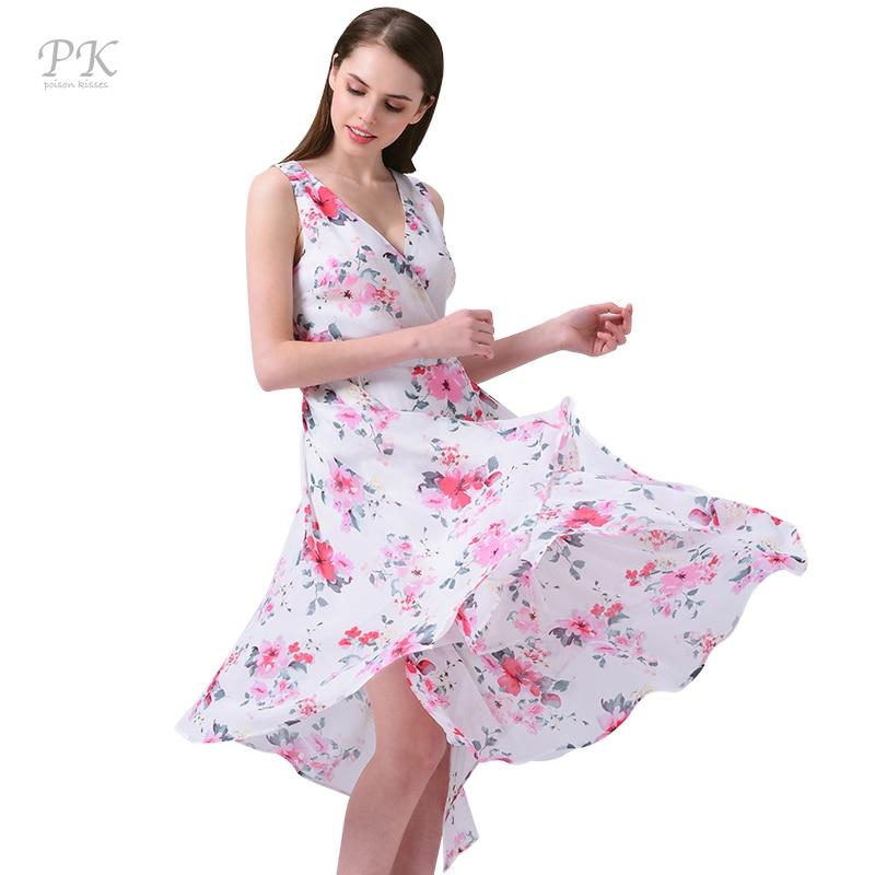 PK summer dress women floral beach chiffon dress print v neck party sexy boho dresses casual sleeveless vestidos 2017