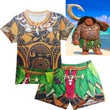 2019 Robe fille Boys Swimming T-shirt shorts cap set Children boy Moana Maui Vaiana clothing swimsuit Kids swim trunks
