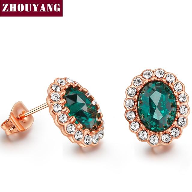 ZHOUYANG Elegant Created Green Crystal Stud Earrings Rose Gold Color