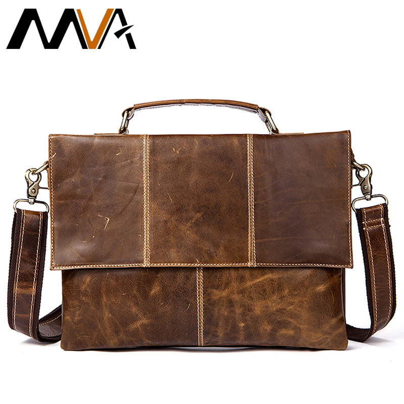 MVA Men's Bag Genuine Leather Shoulder Bags Messenger Bag Men leather Handbags 12 Laptop Crossbody Bags for Men Satchels 7909 augus 100% genuine leather laptop bag fashional and classic crossbody bags leather for men large capacity leather bag 7185a