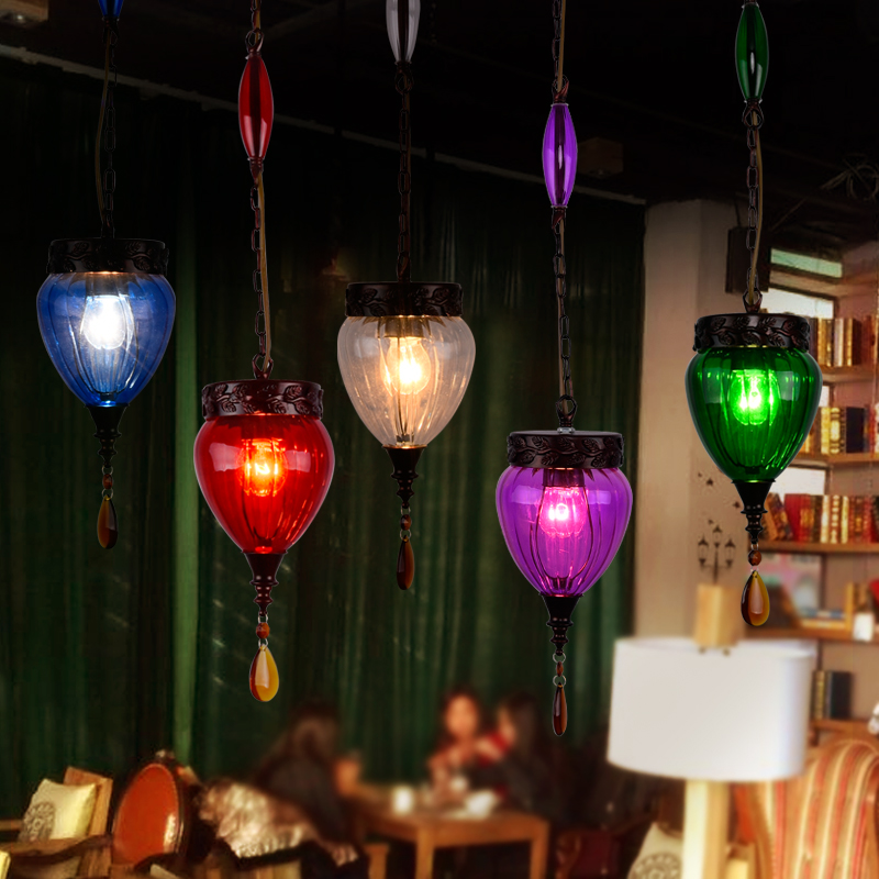 LED Colourfull  Glass Bohemia Style Restaurant Cafe Bar Hanging Lamp Coloured Glaze Tree Pendant Lamp браслеты bohemia style браслет