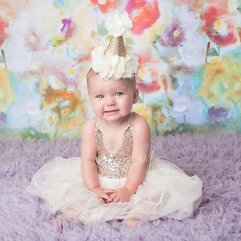 New First Birthday Crown Headband For Girls Hair Accessories Handmade Lovely Glitte Gold kidsHats with Chiffon Flowers Headband gold first coursebook