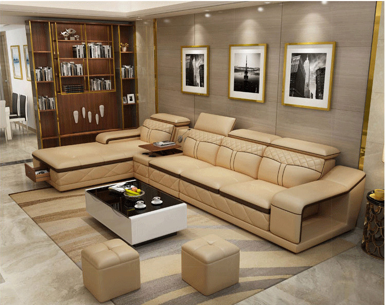 Living Room Sofa set furniture real genuine leather sofas recliner salon couch puff asiento muebles de sala canape L sofa cama image