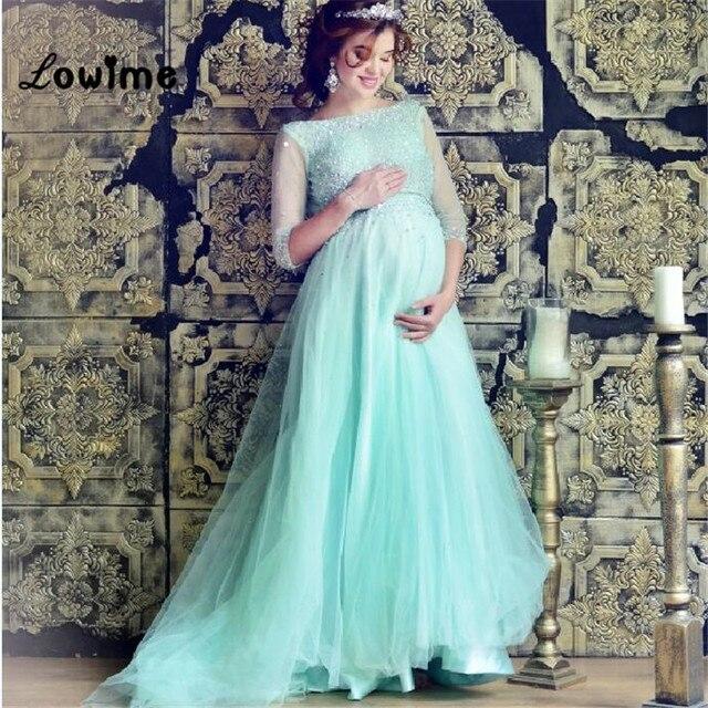 Plus Size Long Elegant Boho Mint Green Prom Dress Tulle Beading ...