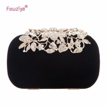 hot deal buy fawziya flower velvet crystal clutches purses for women bags
