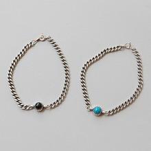 цена HFYK 925 Sterling Silver Bracelet 2019 Vintage CHIC Chain Bracelet For Women Black Blue Stone Bracelet Bangle 925 Silver Jewelry онлайн в 2017 году