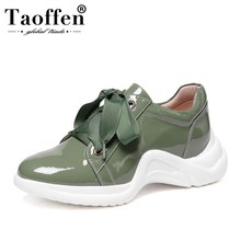 Купить с кэшбэком Taoffen Ladies Real Leather Vulcanized Shoes Outdoor Cross Strap Thick Bottom Fashion Shoes Women Vulcanized Shoes Size 33-43