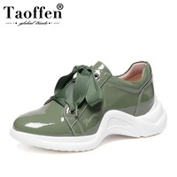 Taoffen Ladies Real Leather Vulcanized Shoes Outdoor Cross Strap Thick Bottom Fashion Shoes Women Vulcanized Shoes Size 33 43