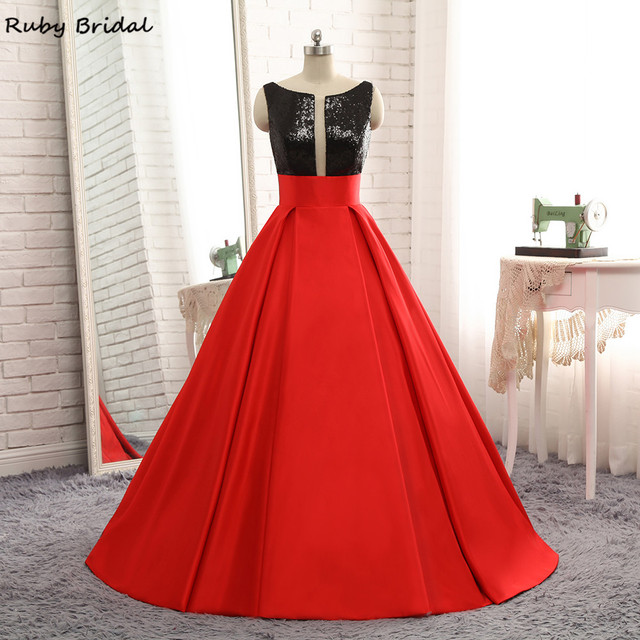 Ruby Bridal Vestidos De Fiesta Red Prom Dress Luxury Satin Black Sequins  Top Cheap Ball Gown Sexy V-Back Prom Party Gown R321 4ff482be1476