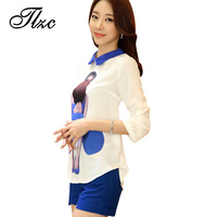 Sweet Lady Summer Suit White Tees Blue Shorts Large Size S 3XL Fashion Women Clothing Set