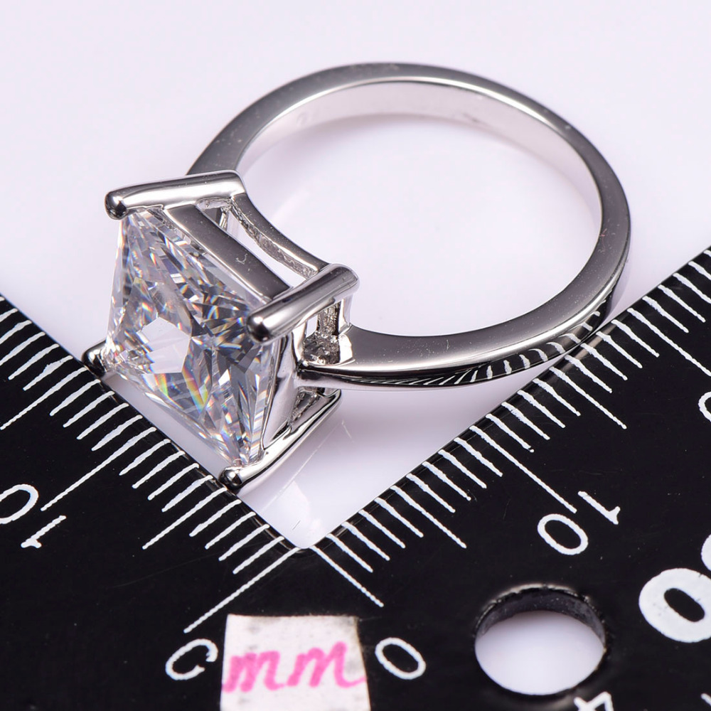 White Crystal Zircon 925 Sterling Silver Wedding Party Fashion Design Romantic Ring  Size 5 6 7 8 9 10 11 12 PR41