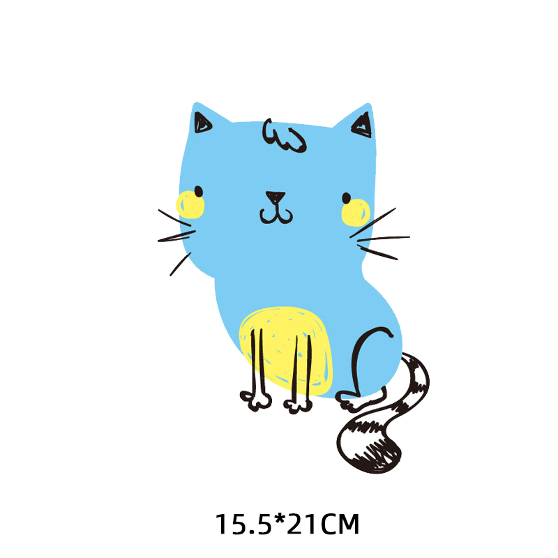 Cartoon Cat Patch Iron on Transfers for Kids Clothing DIY T shirt Dresses Appliques Heat Transfer Vinyl Stickers on Clothes in Patches from Home Garden