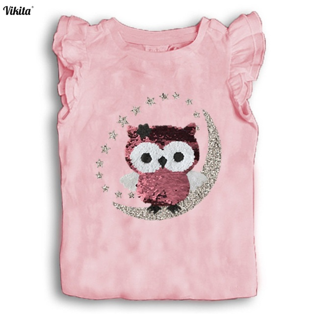 1d353546ae576 VIKITA Girls Summer Clothes Children Sequined T shirt Tee Shirt Kids Girls  t-shirts with Sequins Kids Flare Sleeve Cotton Tops