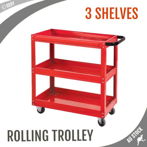 Mechanic Handyman Trolley 3 Tier Tray Cart Warehouse Industrial torin mechanic s cart 5 drawer model tc350