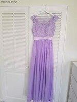 Vestido De Festa дешевые Лаванда Подружкам невесты See Through Назад Длинные аппликация пляж светло фиолетовый нарядные платья для свадьбы