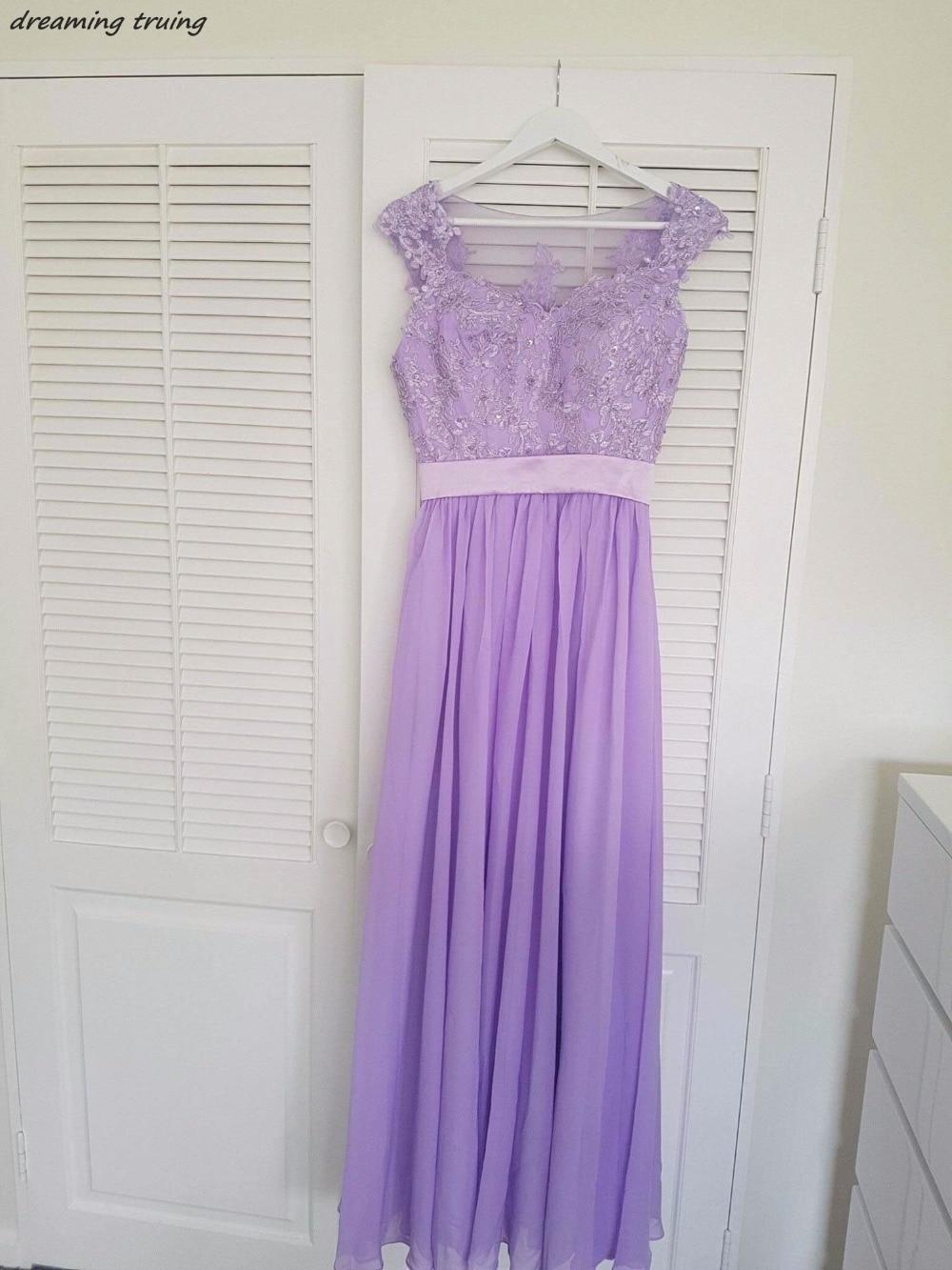 Vestido de festa Cheap Lavender   Bridesmaid     Dresses   See Through Back Long Appliqued Beach Light Purple Wedding Party   Dresses