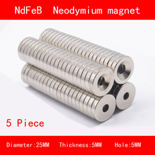 5PCS diameter 25mm thickness 3mm 5mm hole 5mm n35 Rare Earth strong Permanent NdFeB Neodymium Magnet цены
