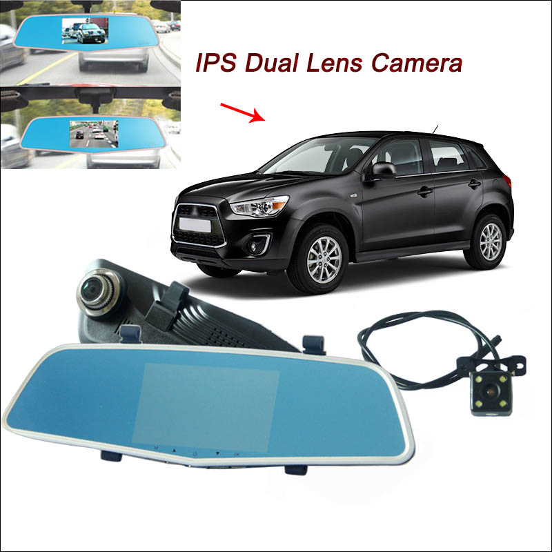 BigBigRoad For Mitsubishi asx pajero lancer Car DVR Rearview Mirror Video Recorder Dual lens 5 inch IPS Screen dash camera цена