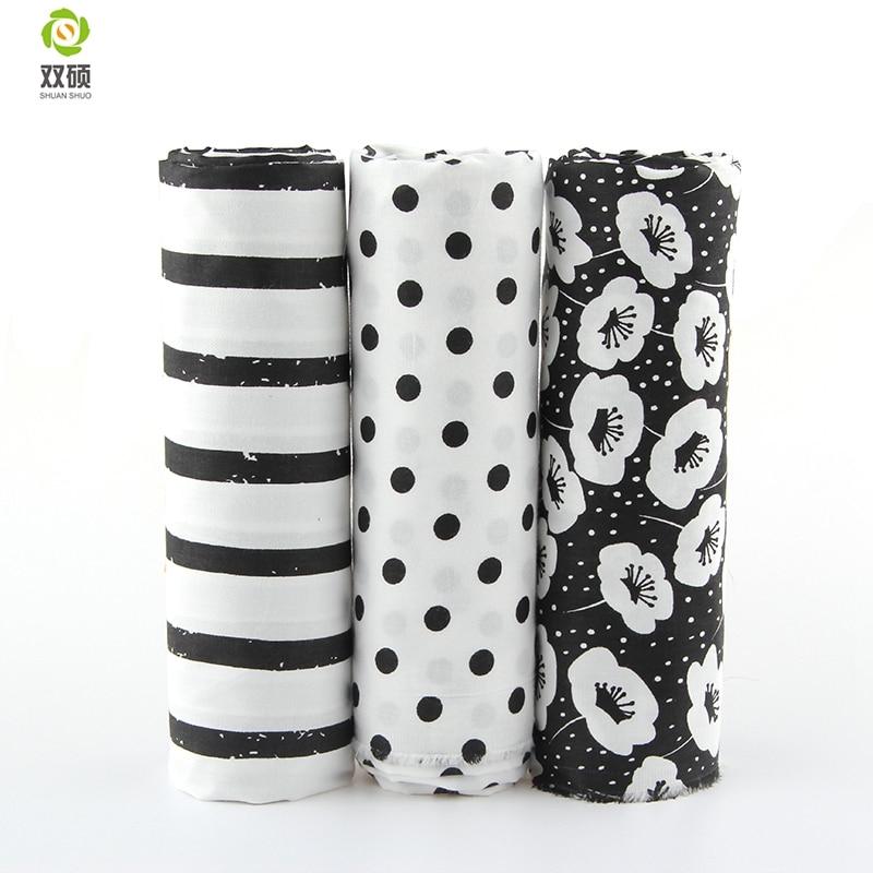 Skriv ut Svart Blomma Bomull Tyg Needlework Textil Syning Tyger För Heminredning Cloth Sängkläder Bordsduk Doll
