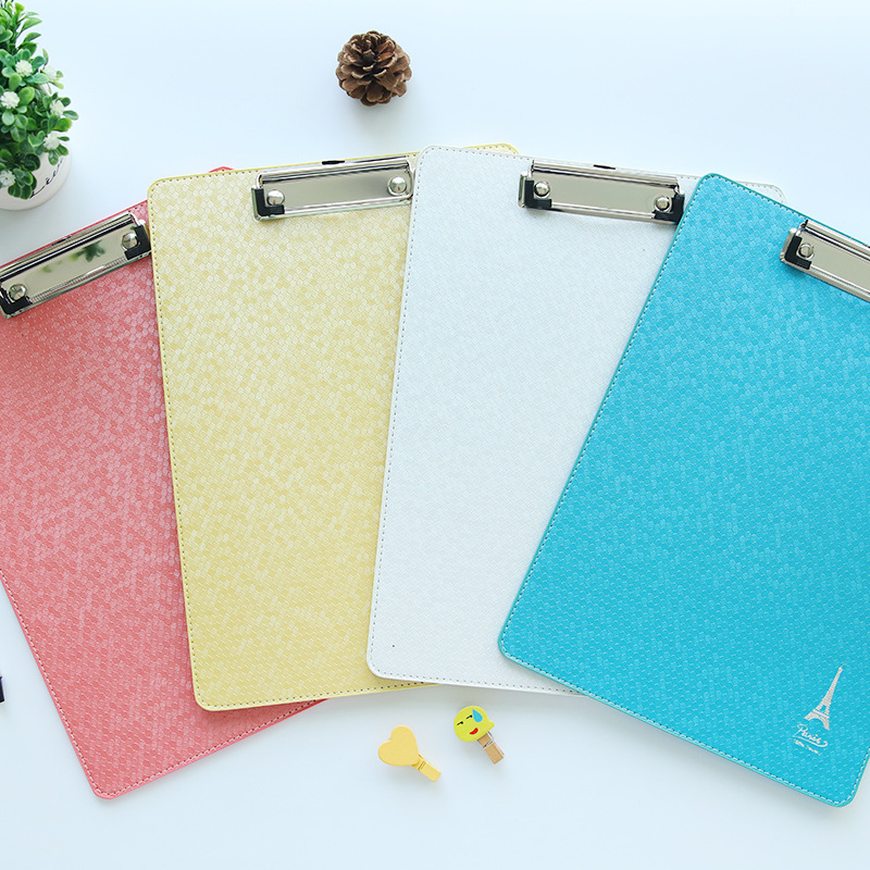 Korean stationery A4 random clipboard folder Candy Color Multifunction Leather Folder File Clipboard Student Writing pads supply
