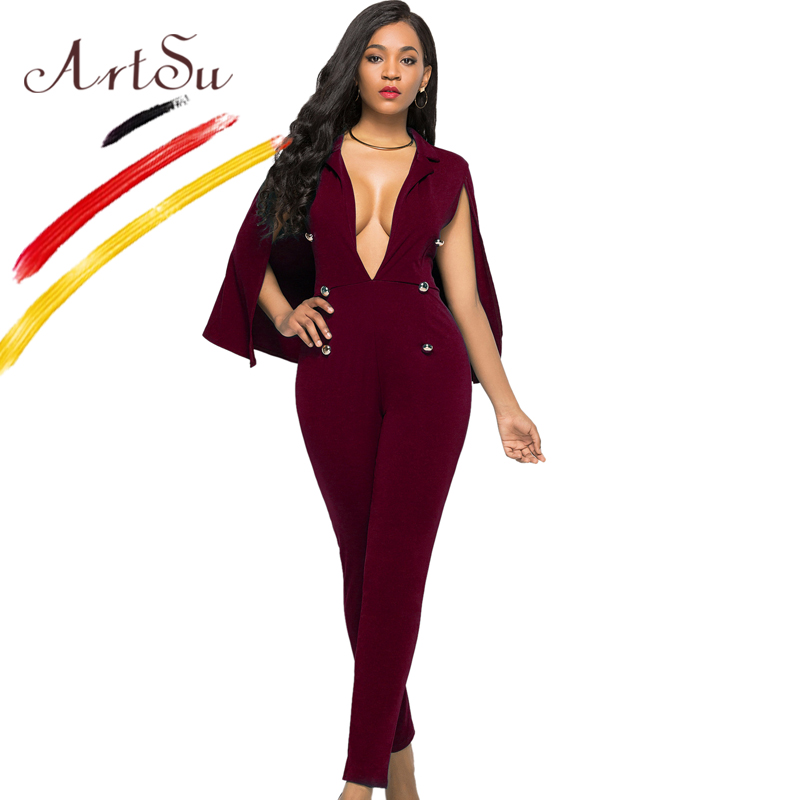 7f71699f9758 ArtSu Fashion One Piece Party Wear Women Sexy Deep V Neck Skinny Jumpsuit  Black White Lady Rompers Club Overalls 3XL Plus Size-in Jumpsuits from  Women s ...