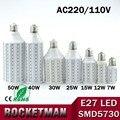 E27 5730 LED Milho Lâmpada de Luz AC 220 V iluminação 7 W 12 W 15 W 25 W 30 W 40 W 50 W, white & branco quente de Milho Luz Iluminação Interna do Repouso