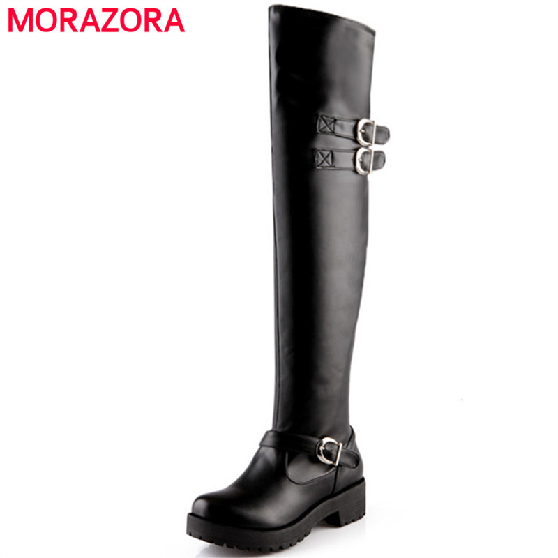 MORAZORA Over the knee boots woman fashion punk med heels shoes boots female women shoes PU soft leather big size 34-43 memunia top quality over the knee boots fashion elegant womens boots female zip flock solid med heels shoes woman big size 34 44