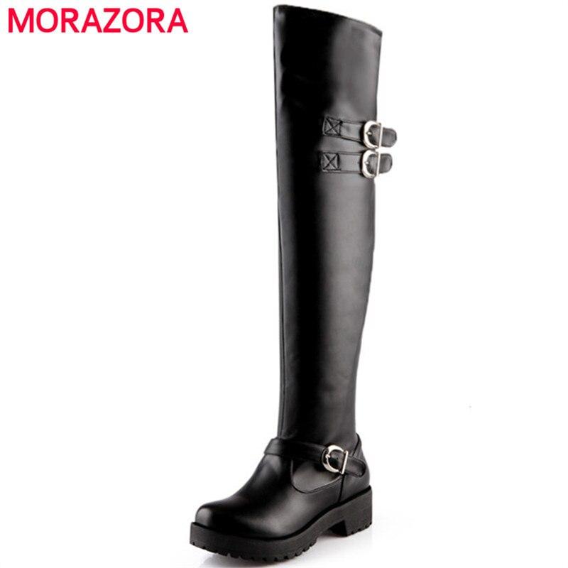 Morazora/Сапоги выше колена модные женские сапоги на среднем каблуке в стиле панк Женская обувь мягкая искусственная кожа, большие размеры 34 43-in Ботфорты from Обувь