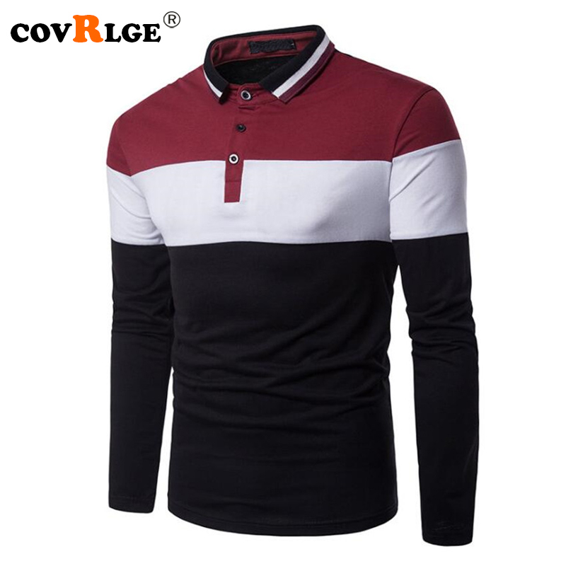 Covrlge Mens Long Sleeve   Polo   Shirts 2018 Fashion Casual Male Brand Tee Shirt Business Tops for Men Slim Fit Jersey   Polos   MTP096