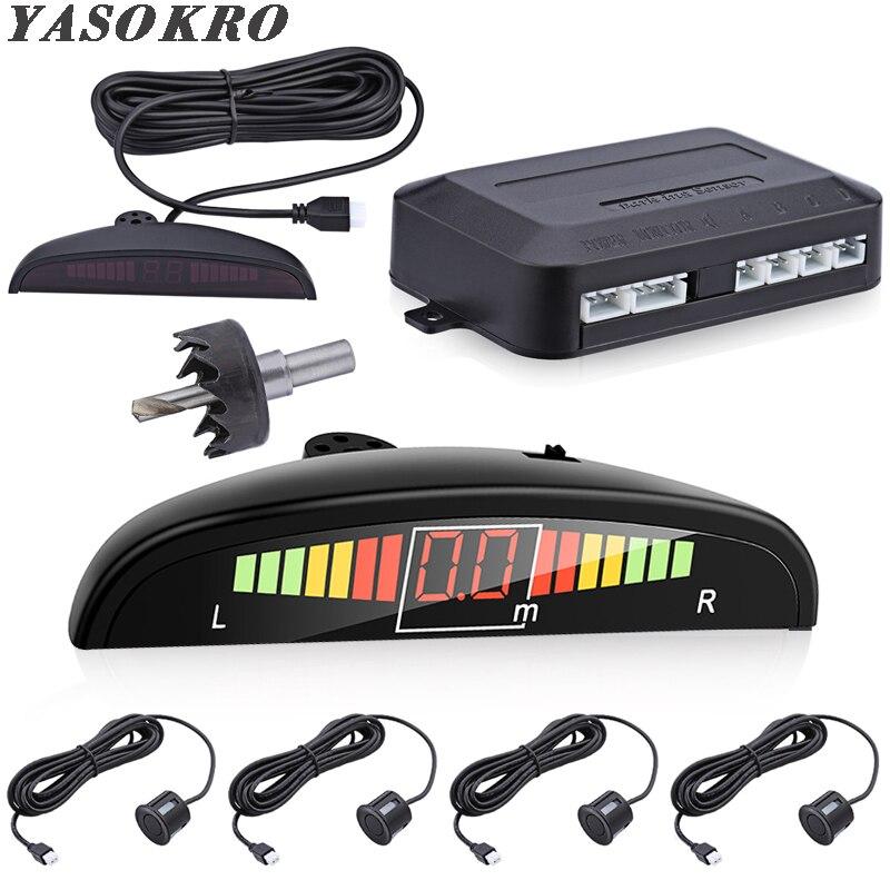 Araba parktronik LED park sensörü kiti arkadan aydınlatmalı ekran anahtarı ile geri park etme radarı monitör dedektörü sistemi 4 sensörleri ile