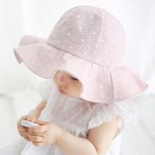 Bebe ancho flare ala del Sol del algodón de los niños sombrero sombreros  verano playa sombrero niñas casquillo del recorrido 1b7f526c999