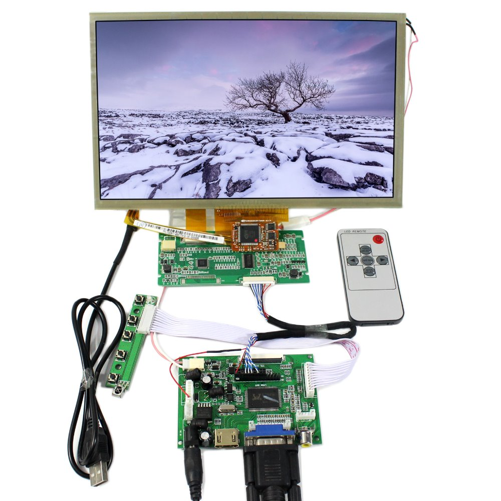 HDMI VGA 2AV LCD Controller Board+10.2 AT102TN03 V.9 800x480  LCD With Multi-Touch Panel hdmi vga 2av lcd driver board vs ty2662 v1 71280 800 n070icg ld1 ld4 touch panel