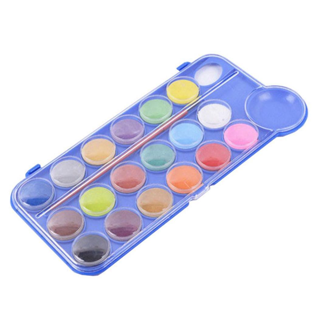18 Colors Portable Solid Watercolor Powder Kids As Picture Painting 2.8cm/1.1inch Pigment Of Plastic Art Set