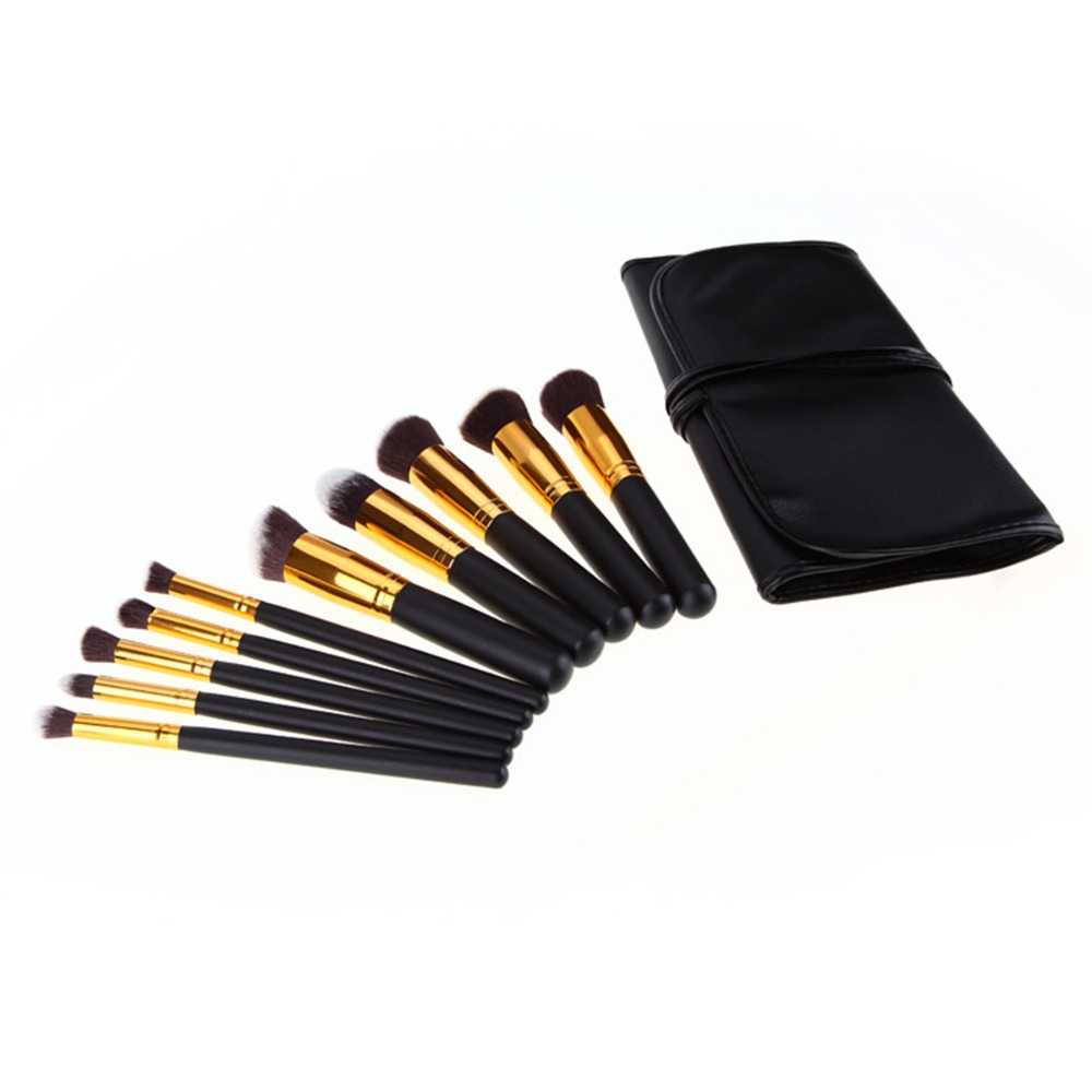 Super Deal 10Pcs Pro Makeup Brushes Set Make Up Brush Cosmetic Eyeshadow Face Powder Foundation Lip Brush Kit Free PU Makeup Bag lcbox professional 40pcs cosmetic makeup brushes set blusher eyeshadow powder foundation eyebrow lip make up brush with bag