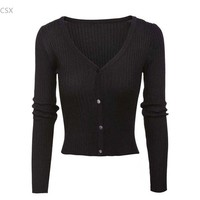 Women S V Neck Long Sleeve Solid Slim Fit Button Up Cardigan Sweater