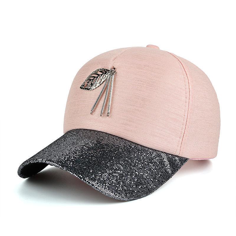 2018 Autumn Women Snapback Baseball Cap Bone Metal Leaves Hats Hip Hop High  Grade Cloth Caps 4bdac62270ff