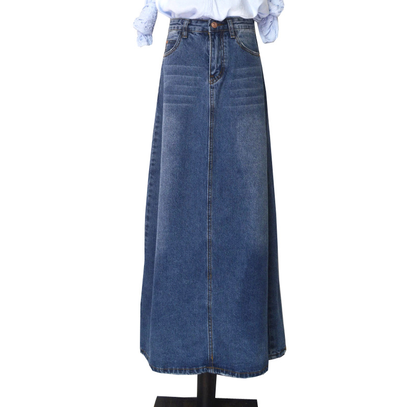 037893027be Free Shipping 2018 New Fashion Long Casual Denim Skirt Spring A-line Plus  Size S