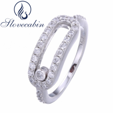 Original 925 Sterling Silver High-Quality Elegant Ring With Move Stone For Women Luxury Jewelry Compatible European