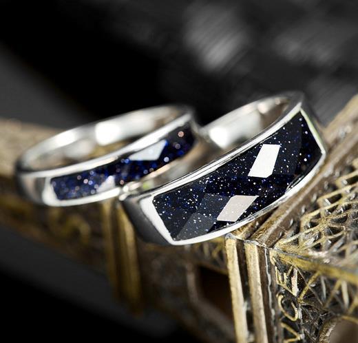 Jauni romantiski pāra gredzeni 100% 925 sudraba ar ahāta gredzeniem - Skaistas rotaslietas