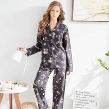 Купить с кэшбэком Tony&Candice Women Pajamas Cotton Pyjamas Set Polyester Ladies Nightgown Long Sleeve Soft Sleepwear Autumn Print Pattern