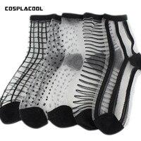 COSPLACOOL 5 Pairs Sexy Style Crystal Glass Silk Meias Ultrathin Transparent Socks Women Sweet Stripe
